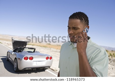 Man Having Car Trouble - stock photo