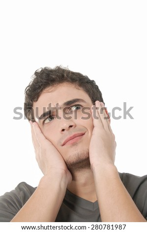 Man having headache and feeling bad, focus on finger - stock photo