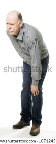 man having knee pain - stock photo
