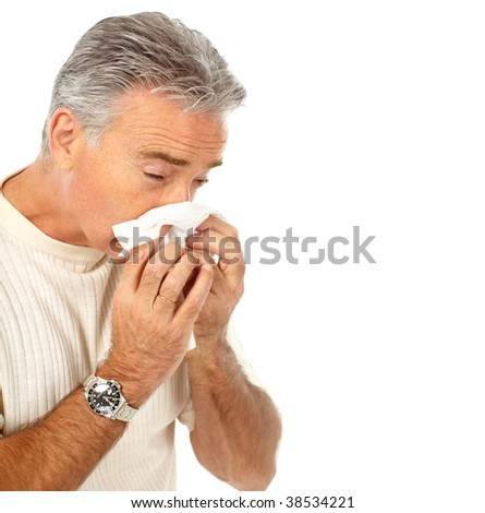 man having the flu. Isolated over white background - stock photo