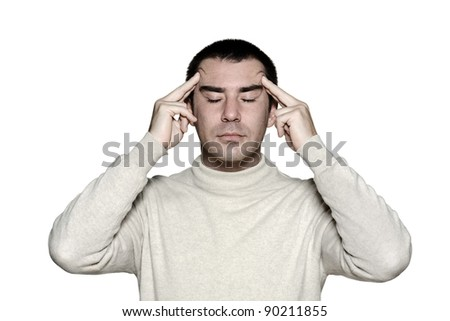 man head massage temple in studio on white isolated background - stock photo