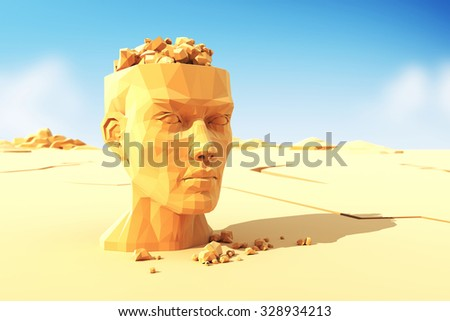 Man head with stones instead the brain - stock photo