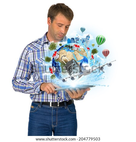 Man hold Earth with buildings and airplane. Elements of this image are furnished by NASA - stock photo