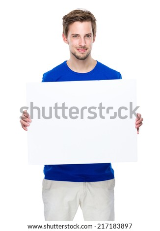 Man hold with blank board - stock photo