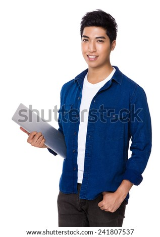Man hold with laptop - stock photo