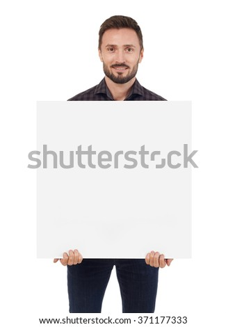 Man holding a blank sign - stock photo