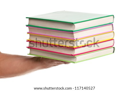 Man holding a books isolated on white background - stock photo