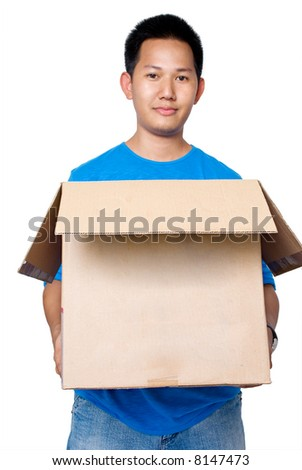 Man holding a box moving out - stock photo