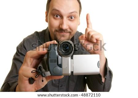 man holding a camera - stock photo