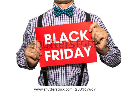 Man holding a card with the text Black friday on white background - stock photo