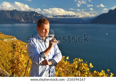 Man holding a glass of wine. Lavaux, Switzerland - stock photo