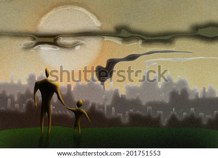 man holding a kid's hand in front of a polluted cityscape - stock photo