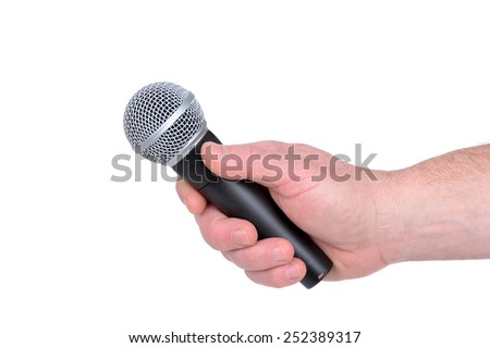 man holding a microphone isolated white background - stock photo