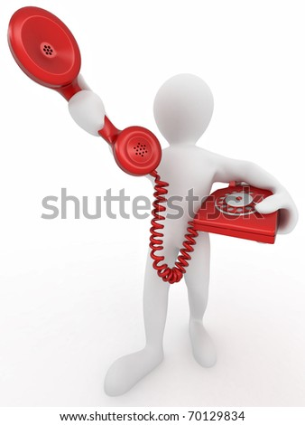 Man holding a telephone receiver on white isolated background. 3d - stock photo