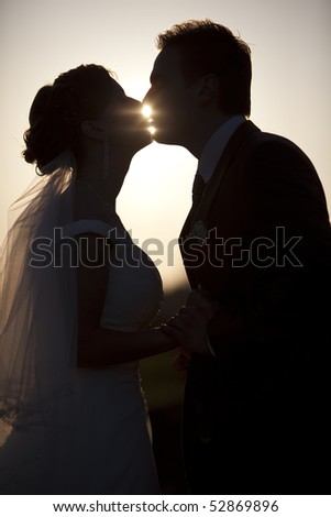 Man holding and kissing woman silhouettes in the evening park wedding - stock photo