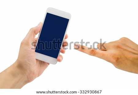 man holding and pointing the mobile phone isolated on white background - stock photo