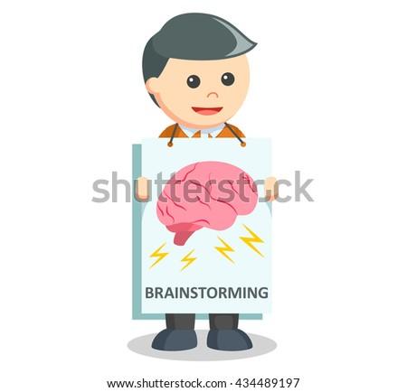 man holding banner  - stock photo