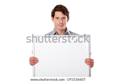 Man holding board with place for your text - stock photo