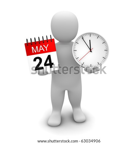Man holding clock and calendar. 3d rendered illustration. - stock photo