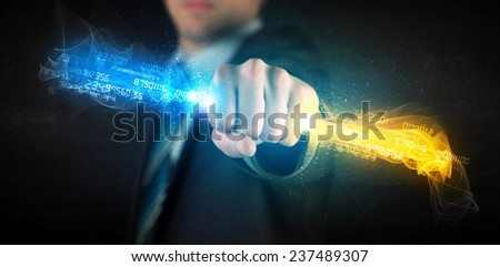 Man holding colorful glowing data in his hands concept - stock photo