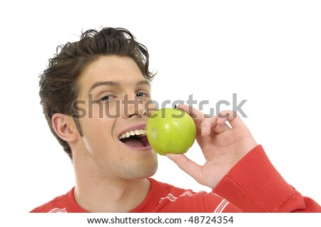 Man Holding Green Apple - stock photo