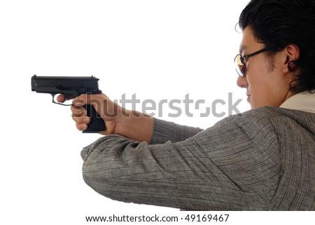 man holding gun profile - stock photo