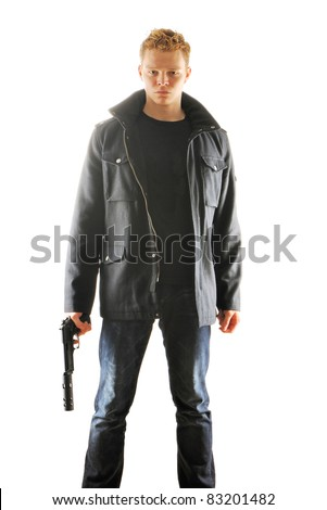 Man holding gun with silencer over white - stock photo