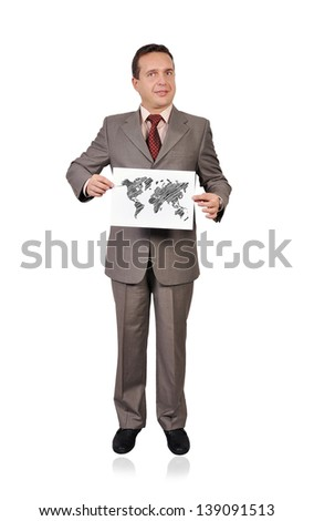 man holding paper with world map - stock photo
