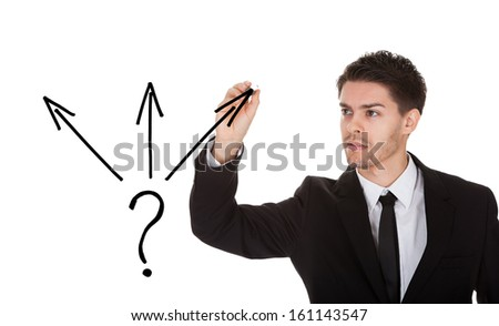 Man holding pen drawing direction choice concept on white screen - stock photo