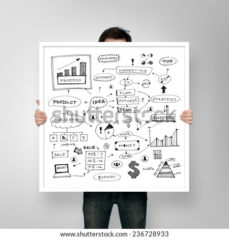 man holding poster business plan with frame - stock photo