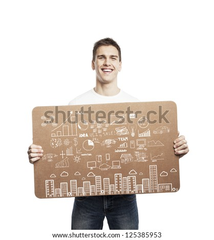 man holding poster with business concept - stock photo