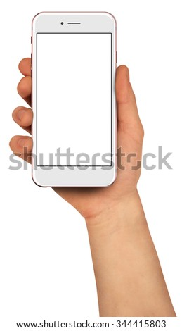 Man holding smartphone with blank screen. High detailed. - stock photo