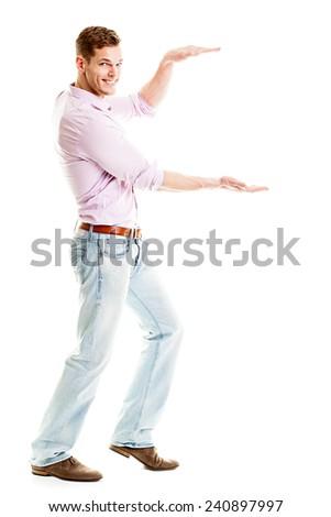 man holding something imaginary - isolated over a white background  - stock photo