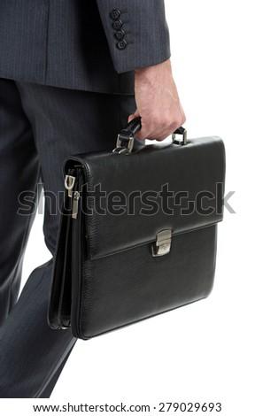 Man holding suitcase isolated on white - stock photo