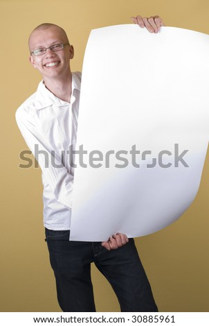 Man holding the blank - stock photo