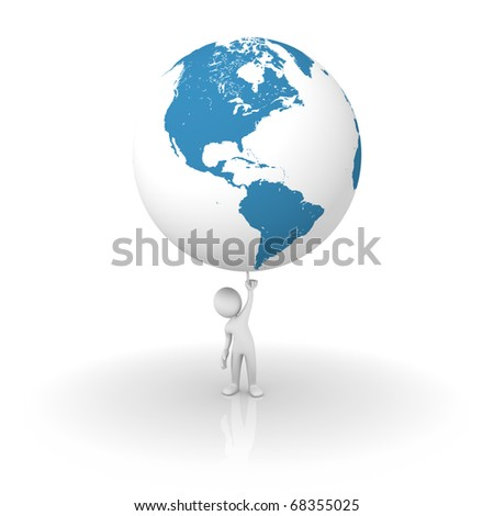 Man holding the planet earth: America side - stock photo