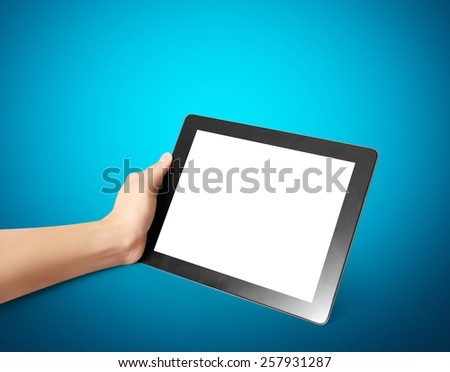 Man holding touch screen tablet - stock photo