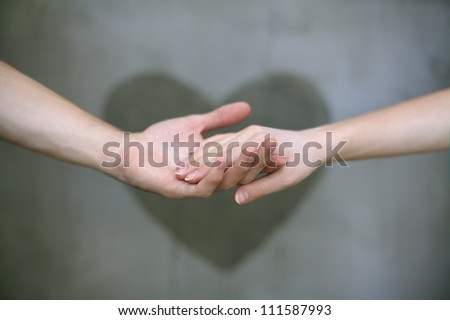 Woman Hand Holding Paper Man Holding Woman's Hand With