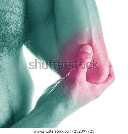 man holds a painful elbow - stock photo