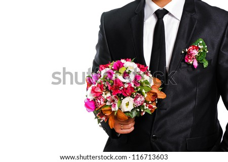 man husband , groom whith beautiful wedding bouquet on isolated background - stock photo