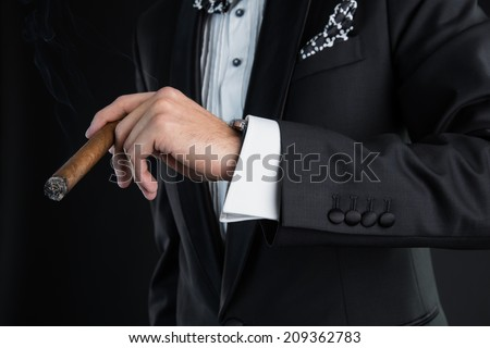 Man in a black suit holding a cigar in a left hand - stock photo