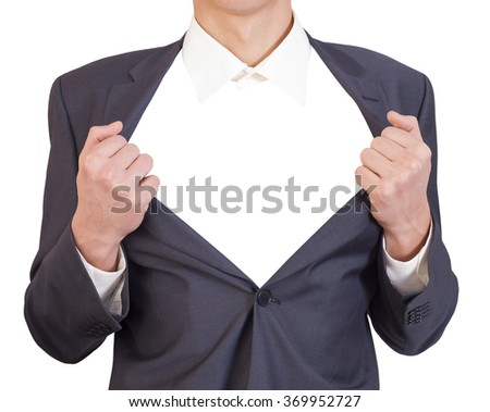 man in a business suit showing his chest - stock photo