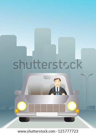 man in a car traveling on the road - stock photo