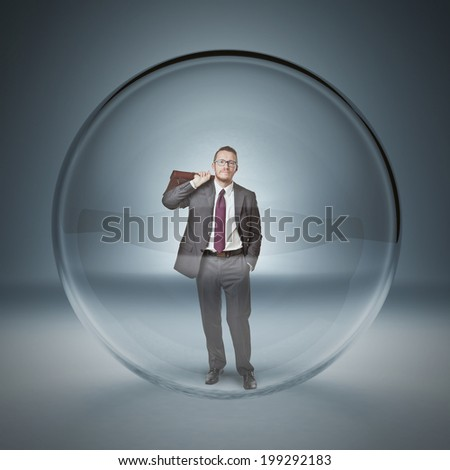 man in a 3d glass bubble - stock photo