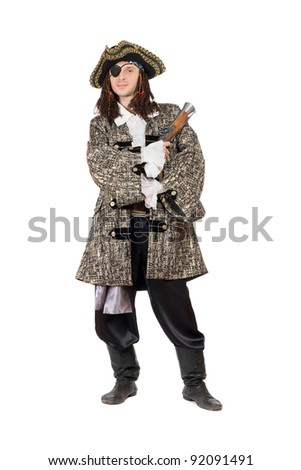 Man in a pirate costume with pistol. Isolated - stock photo