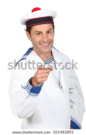 Man in a sailor costume - stock photo