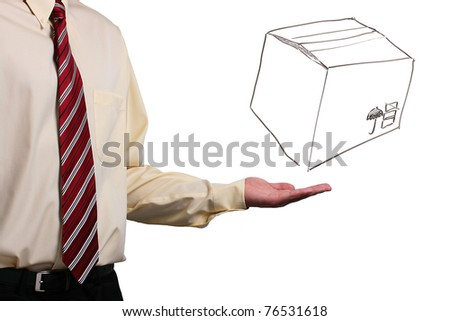 Man in a shirt and a tie holding his hand under a drawing of a box. Add your text to the box. - stock photo