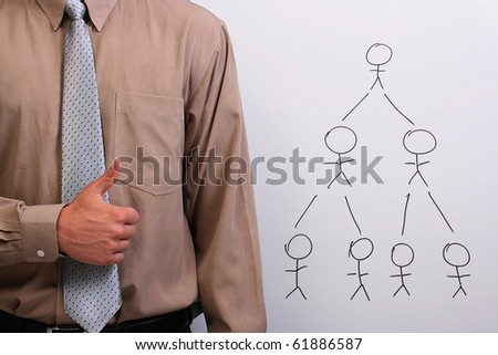 Man in a shirt and a tie showing thumbs up next to a drawing of a human hierarchy. - stock photo