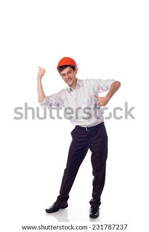 Man in a shirt in orange construction helmet, thumbs up; isolated Background - stock photo
