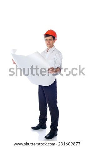 man in a shirt in orange construction helmet with a paper sheet in hand; isolate background - stock photo